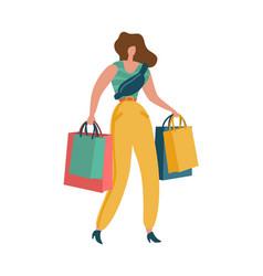 shopper woman shopaholic female with shopping vector image