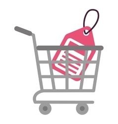 Shopping cart online price tag vector