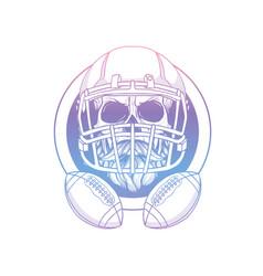 Sketch skull american football player vector