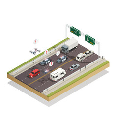 smart city traffic isometric composition vector image