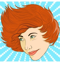 Smiling girl face in retro style vector image