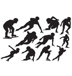 Speed skating silhouette vector