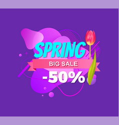 spring big offer 50 off discount advertisement tag vector image