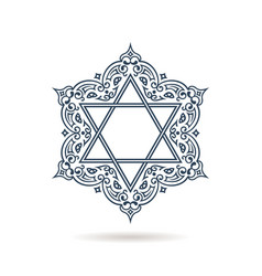Star of david jewish ornament blue icon vector