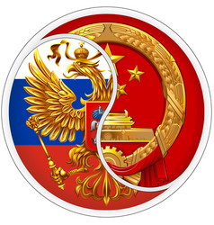 sticker russia and china vector image