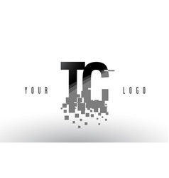 Tc t c pixel letter logo with digital shattered vector