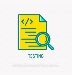 testing software code with magnifier line icon vector image
