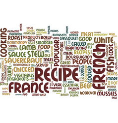 The most popular french recipes text background vector