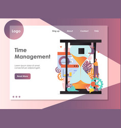 time management website landing page design vector image