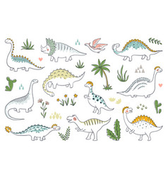trendy doodle dinosaurs cute outline dino babies vector image