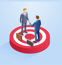 two businessmen shake hands on target vector image