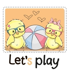 Two Cute chicks vector