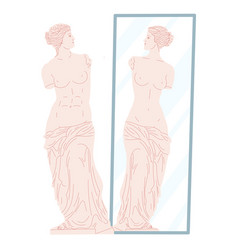 Venus statue looking at her reflection vector