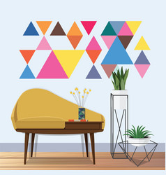 Vintage living room idea vector