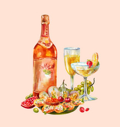 vintage watercolor with champagne or wine two vector image