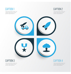 warfare colorful icons set collection of rocket vector image vector image