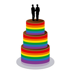 Wedding cake with two gay men vector