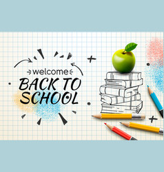 Welcome back to school web banner doodle on vector