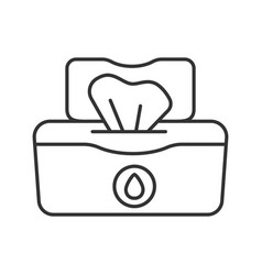 Wet wipes pack linear icon vector