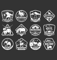 Wild animals icons hunting adventure vector