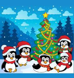 Winter theme with penguins 3 vector
