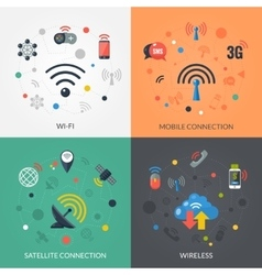 Wireless Technology 4 Flat Icons Square vector