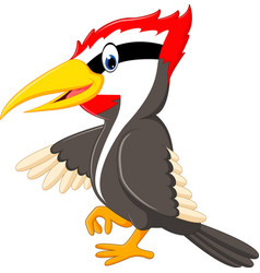 woodpecker bird cartoon vector image