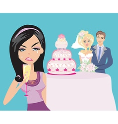Young woman jealous on a happy Wedding pair vector