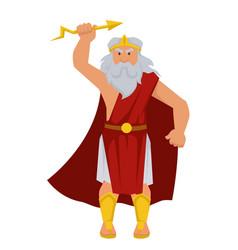 zeus greek god isolated male character elderly man vector image