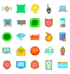 cybercrime icons set cartoon style vector image