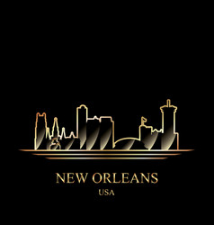 gold silhouette of new orleans on black background vector image vector image
