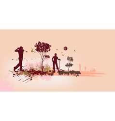 Golf Silhouettes in pink background vector image vector image