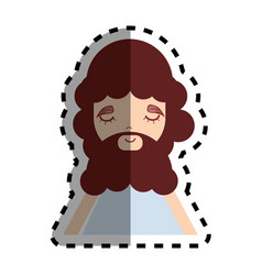 man with beard and casual cloth icon vector image vector image