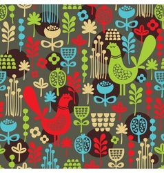 Pattern with cute birds and pretty flowers vector image vector image