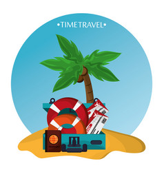 time travel beach sand elements icons vector image vector image