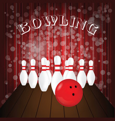 Bowling poster with white pin and red ball vector