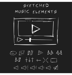 Doodle music elements set sketch design vector image vector image