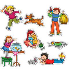 kids and pets vector image vector image