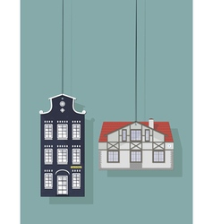 Set of labels with the image of the house vector image vector image
