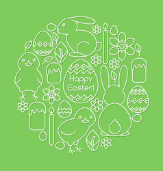 card template with easter symbols line art vector image vector image