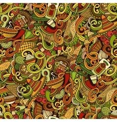 Cartoon mexican food doodles seamless pattern vector image vector image