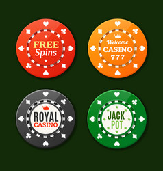 Casino chips sign set vector