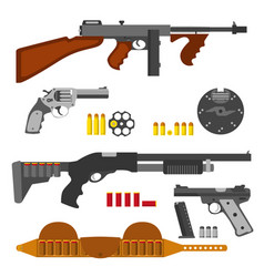 guns flat set machine gun thompson rifle revolver vector image