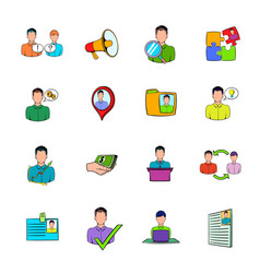 human resources icons set cartoon vector image