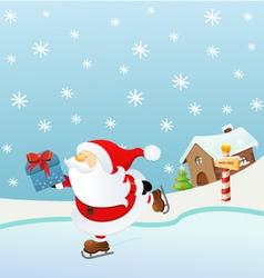Ice Skating Santa vector image