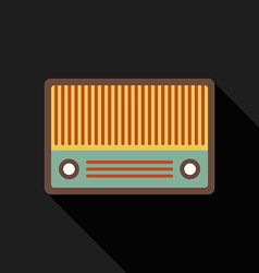 Retro vintage radio flat design isolated icon vector image