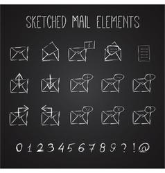 Sketched Mail Elements Set vector image vector image