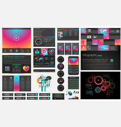 UI flat design web elements and layouts with vector image