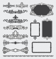 vintage decorative scroll and background set vector image vector image