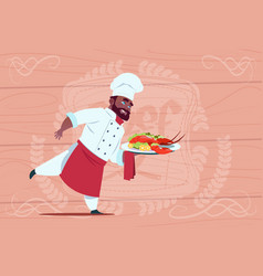 african american chef cook holding tray with vector image